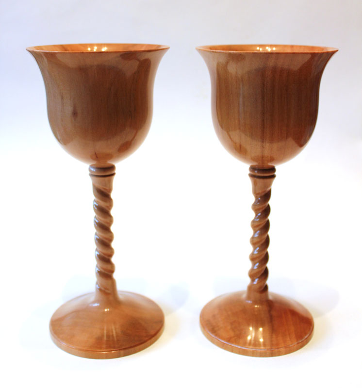 Apple Wood Goblets by Paul Hannaby Creative Woodturning