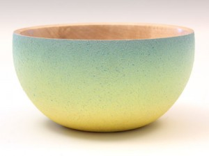 Rippled sycamore textured and coloured bowl by Paul Hannaby Creative Woodturning