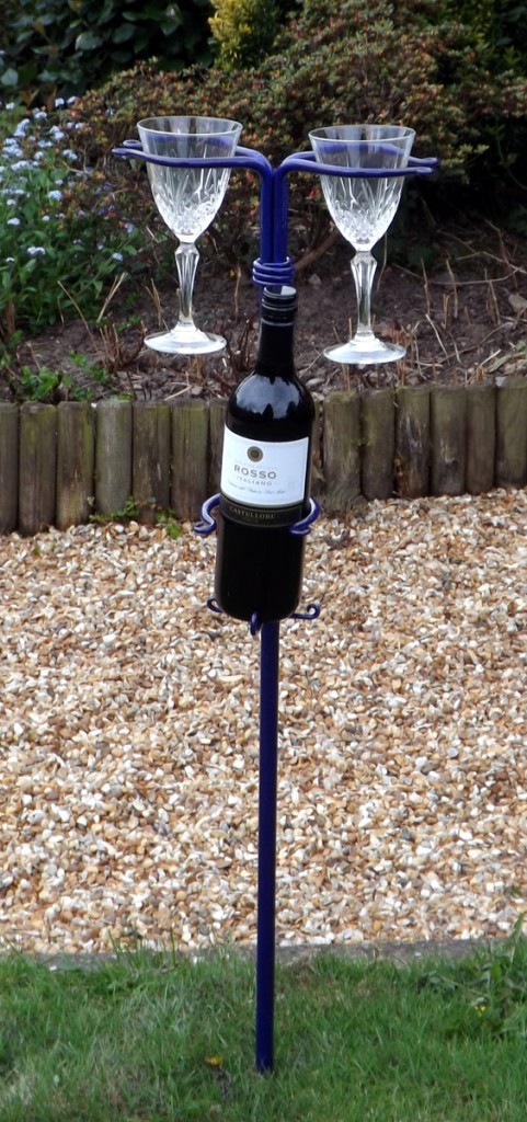 Double Wine Glass holder With Wine Bottle Holster by Chris Hughes