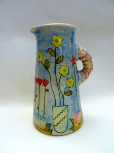 Ceramic Jug with flowers by Yvonne Halton