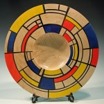 Mondriale platter. Sycamore and acrylic paints by Paul Hannaby Creative Woodturning