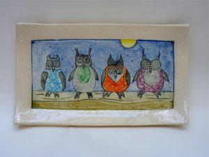 Ceramic slabbed dish owls 2 by Yvonne Halton