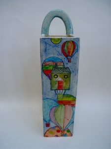 Tall ceramic balloons vase by Yvonne Halton