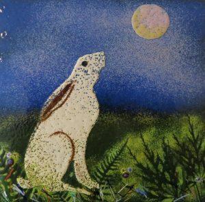 Enamel hare by Jeanette Hannaby